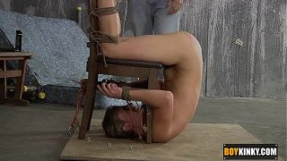 Cute twink Casper Ellis gets bent upside down spanked and fucked real hard