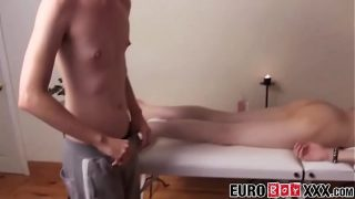 Twink Ethan White anal penetration and gay massage